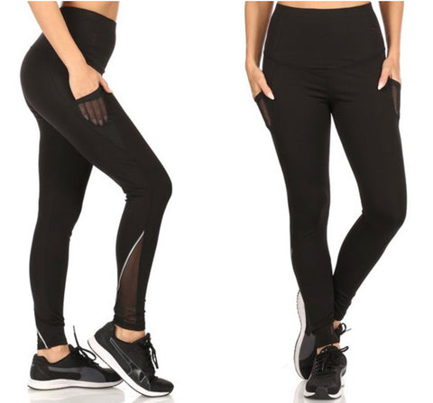 Black Tummy Control Butt Sculpting Pocket Leggings with Mesh Legs