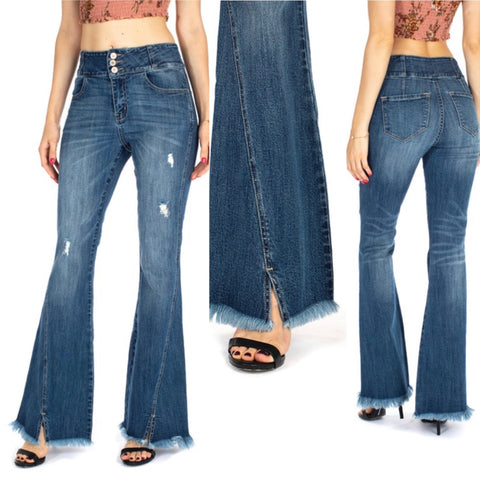 KanCan High Rise 3 Button Flare Jeans
