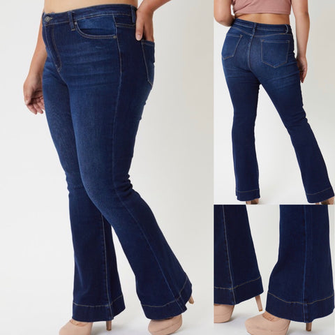 "Curvy KanCan Dark Wash High Rise Flare Jeans "" Dotty"""