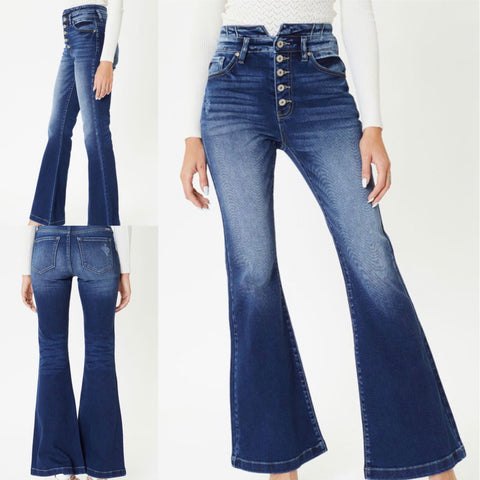 "KanCan ""Valerie"" High Rise Button Fly Flare Jeans"
