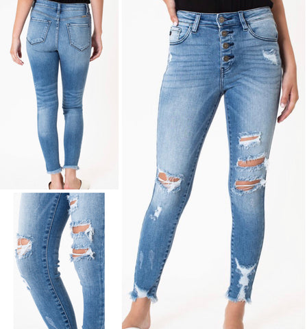 "KanCan ""Natalie"" Button Fly Distressed Medium Washed Jeans"