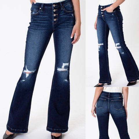 "KanCan ""Vonnie"" Mid Rise Button Fly Distressed Flare Jeans"