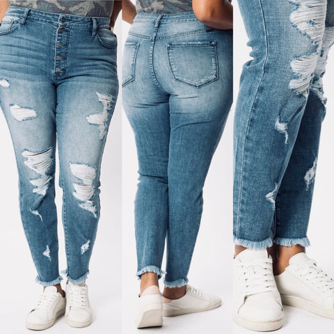 "Curvy Kancan Distressed Jeans ""Barrin"""