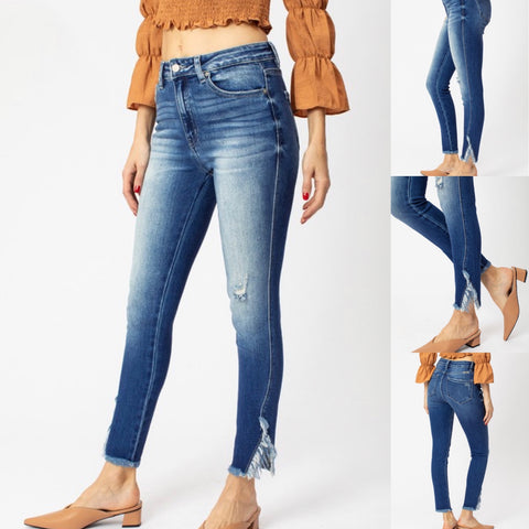 "KanCan Jeans ""VICTORIA"" with Frayed Ankle Slit"