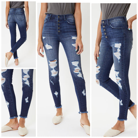"KanCan ""Jaxson"" High Rise Distressed Frayed Ankle Jeans"