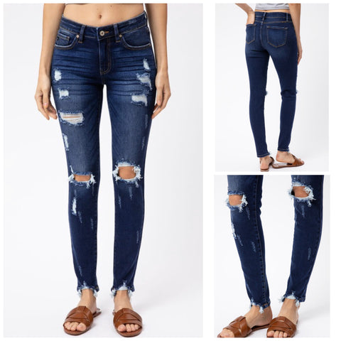 "KanCan ""Glynn"" Mid Rise Destroyed Ankle Skinny Jeans"
