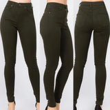 Olive High Waist Jeggings Skinny Jeans