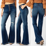 "Kancan Dark High Rise Button Fly Flare Jeans "" Reba"""