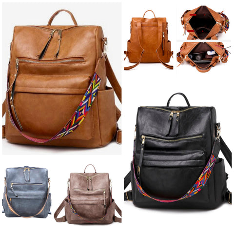 """Melea"" Convertible Strap Backpack in Multiple Colors"