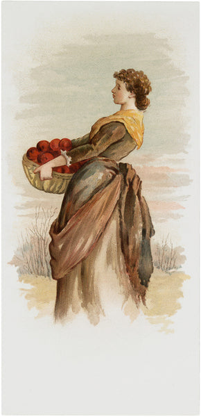 vintage woman carrying a fall harvest of apples