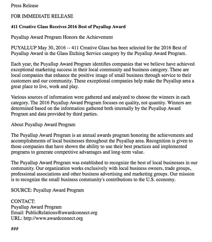 411 Creative Glass wins best in puyallup award press release