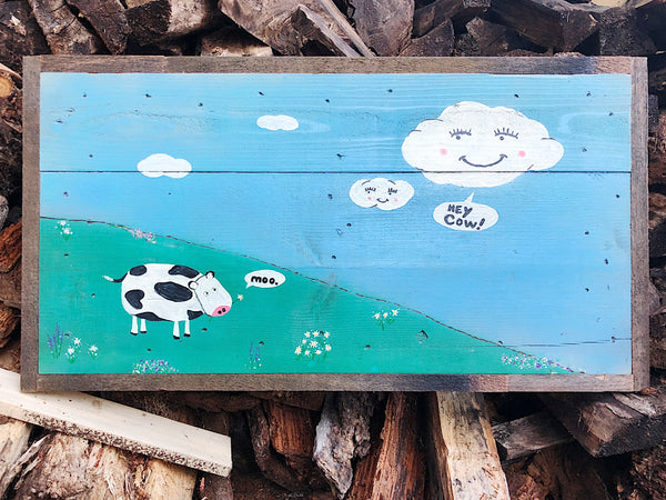 Hey Cow! Rustic Wooden Sign
