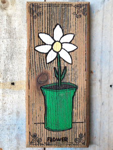 Rustic Cedar Fence Wood Daisy Sign