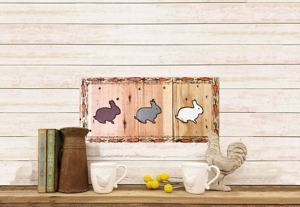 Painted Wooden Bunny Wall Decor