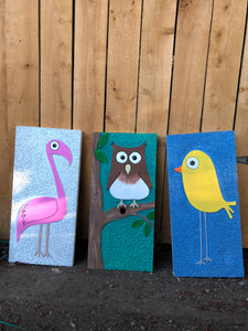 Rustic Bewildered Bird Wood Sign Set (3)