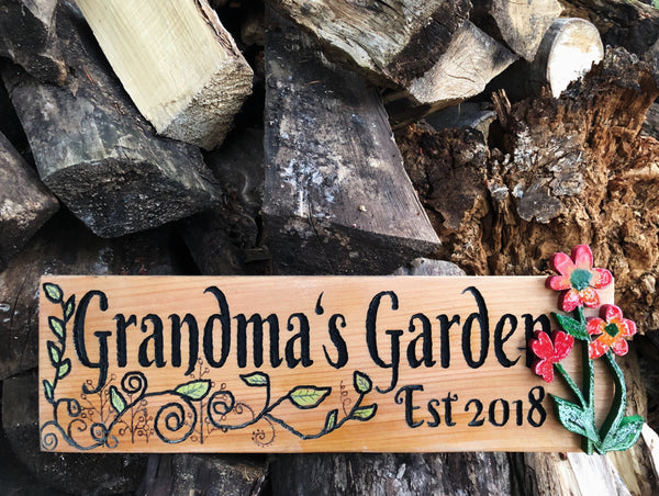 Grandma's Garden Wooden Sign