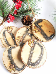 Single Letter Christmas Wood Slice Ornament w/ a Cross on the Back