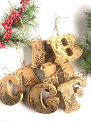 "Initial Ornament, Christmas Ornament, 4"" Tall Reclaimed Wood Ornament, Letter-shape, Personalized Custom Ornament, First Christmas"