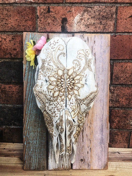 Beautiful & Rustic Cow Skull with Floral + Mandala Design Taxidermy