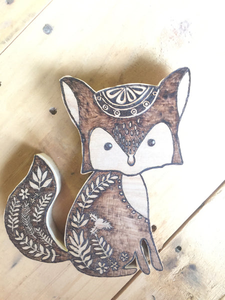 Woodland Creatures Fox for kid's room or nursery top down