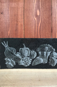 images of vegetables engraved on recycled countertop stone