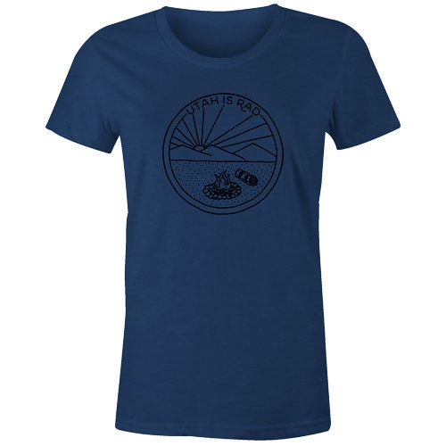 New Women's Camp Scene Tee - Black print
