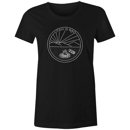 New Women's Camp Scene Tee - White print
