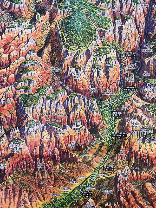 Zion National Park Panoramic Hiking Map