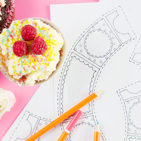 Cupcake colouring printable download from Claire Close Studio