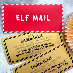 elf mail christmas card with golden ticket personalised