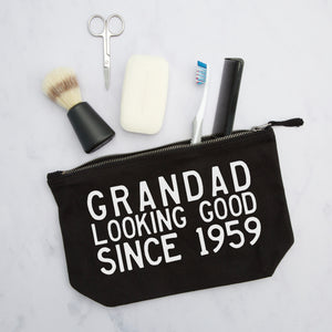 looking good since personalised year wash bag gift for grandad