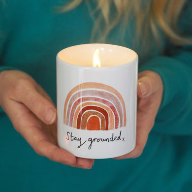 stay grounded candle earth rainbow mindfulness gift