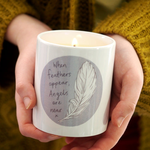 feather angel memorial gift candle