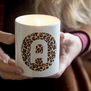 Leopard Print Initial Scented Soy Candle
