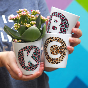 alphabet leopard print flower pot