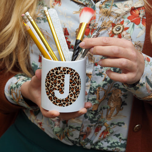 Leopard Print Alphabet Storage Pot