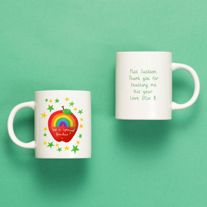 Rainbow Apple Personalised Teacher Mug or Travel Mug Gift