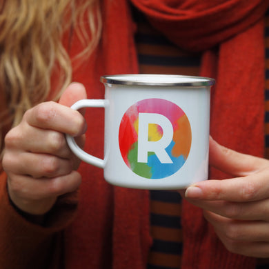 Rainbow Brush Strokes Alphabet Enamel Mug