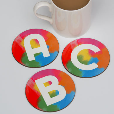 Rainbow Brush Strokes Alphabet Coaster