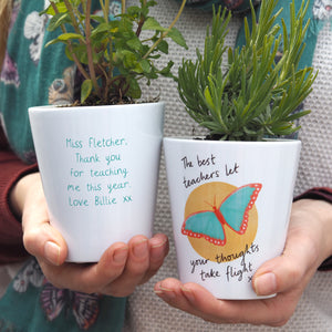 Butterfly Teacher Personalised Plant Pot