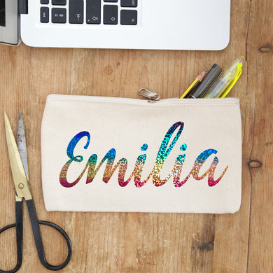 holographic rainbow name personalised pencil case