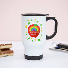 Load image into Gallery viewer, Rainbow Apple Personalised Teacher Mug or Travel Mug Gift