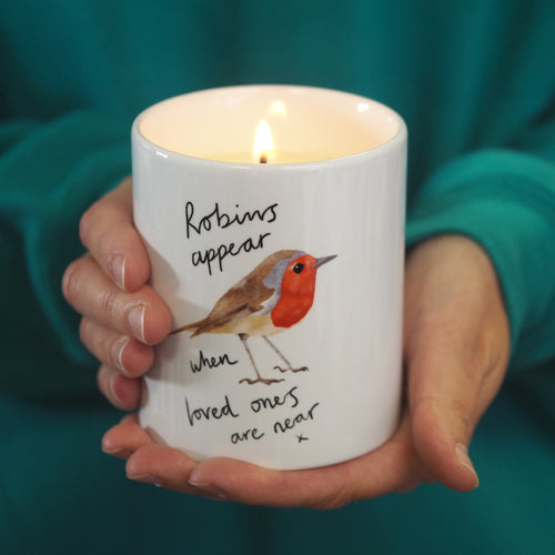 robin memorial candle sympathy gift