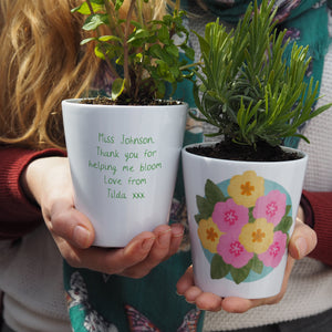 primrose teacher plant pot gift idea