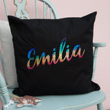 Holographic Rainbow Name Personalised Cushion