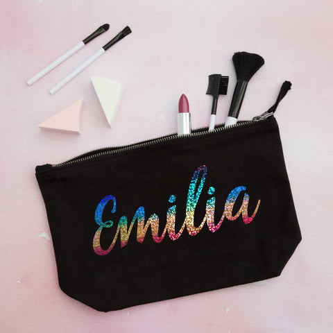 Holographic Rainbow Name Personalised Pouch