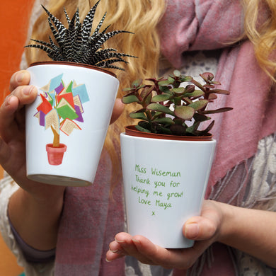 Tree of Knowledge personalised plant pot for Teacher