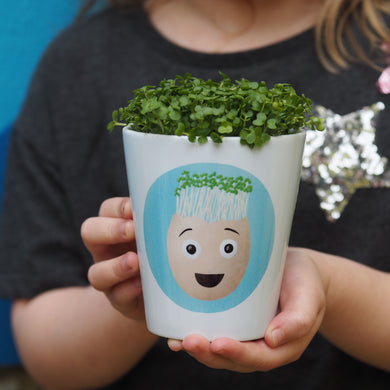 Grow your own cress egg head plant pot gift set