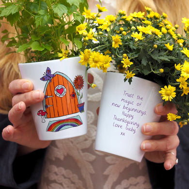 Autumn Fairy Door Personalised Plant Pot