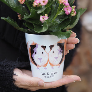 Guinea Pig Couple Personalised Plant Pot